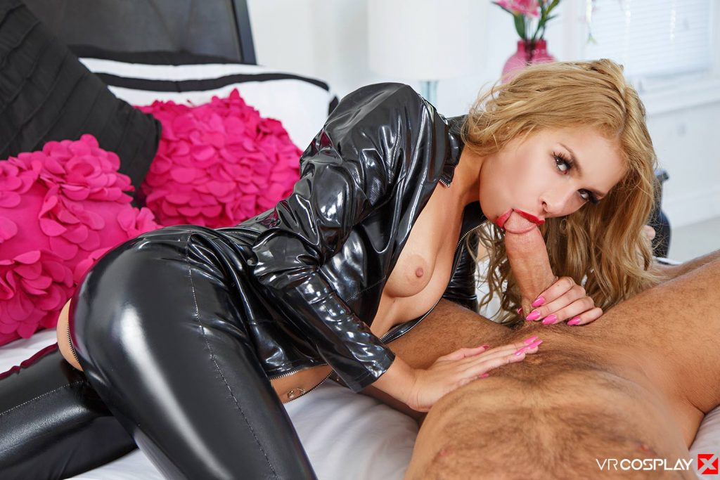 Tight blonde in leather pants gets cum on her butt